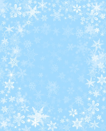 subtly: Subtly rendered snowflakes on a light blue background.