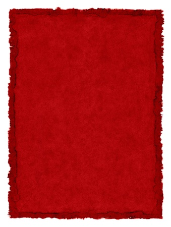 A red, vintage paper background with a stained deckle border.