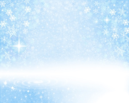 Glowing snow flakes on a light blue, textured paper background.
