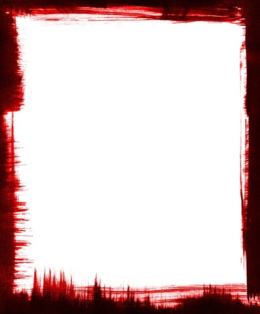 Red and black brushstrokes form a graphic frame around a white background. photo