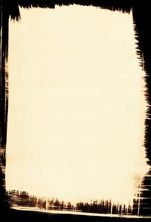 pinceladas: Un antiguo fondo de papel con un marco de pincelada.