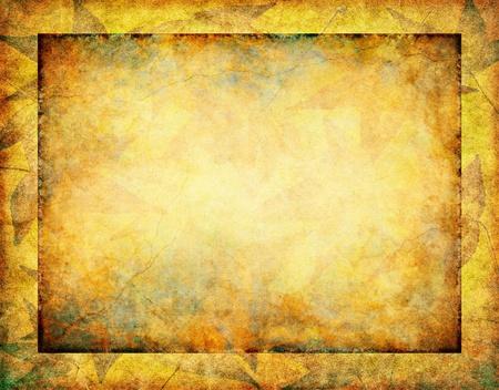 暗いグランジの内側の境界線と輝く、ビンテージの紙の背景に微妙な秋の葉します。 写真素材 - 10342253