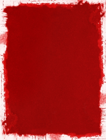 A red grunge paper background with splattered and uneven edges.