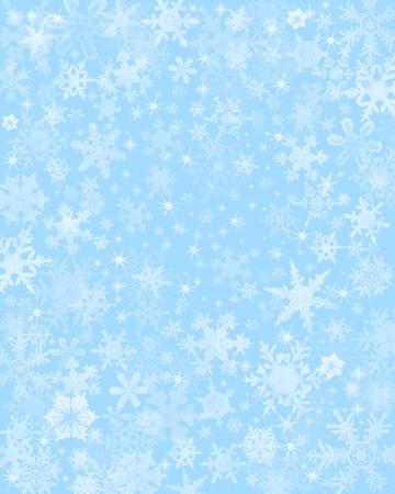 Snow flakes on a light blue background.