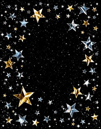 lucero: Estrellas de oro y plata sobre un fondo negro espacio Foto de archivo