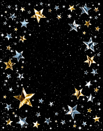 Silver and gold stars on a black space background