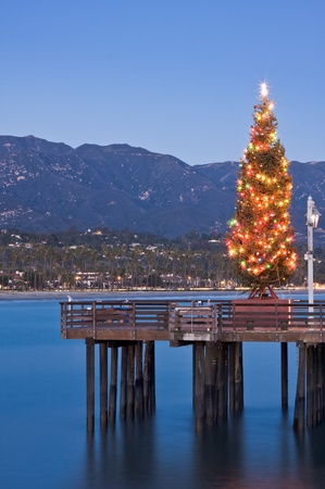 barbara: A Christmas tree displayed on Stearns Wharf in Santa Barbara, California. Stock Photo