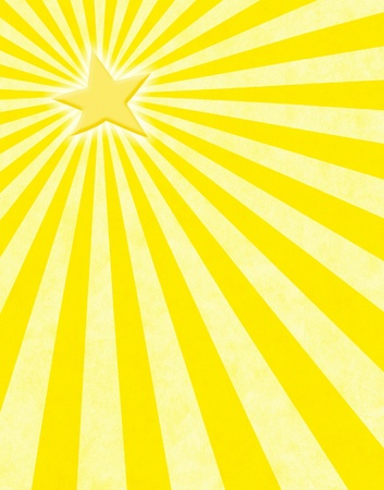 ray of light: A glowing yellow star with light rays on a paper background.