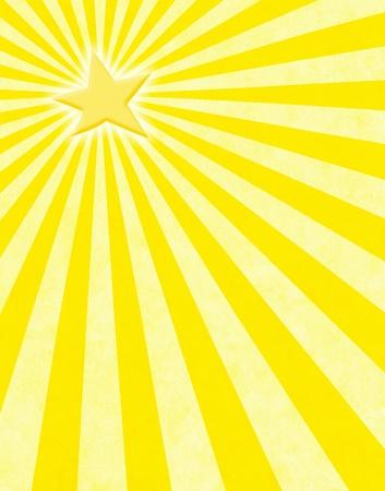 Een gloeiende gele ster met licht stralen op een papieren achtergrond.