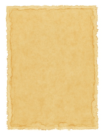 deckled: Old textured paper with a waterstained border. Stock Photo