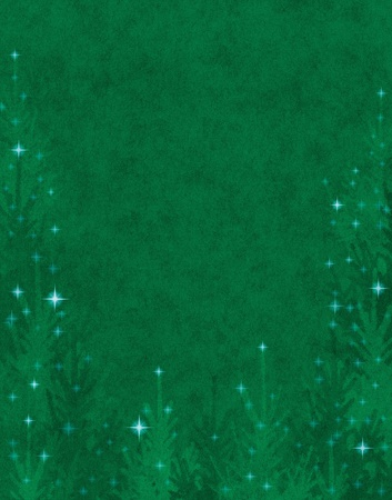 holiday background: Textured Christmas trees with twinkling star effects.