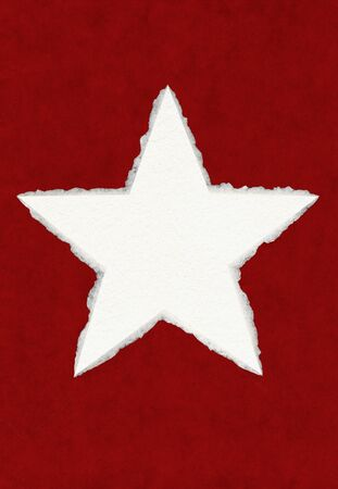 deckled: A large paper star with true deckle edges on a red background