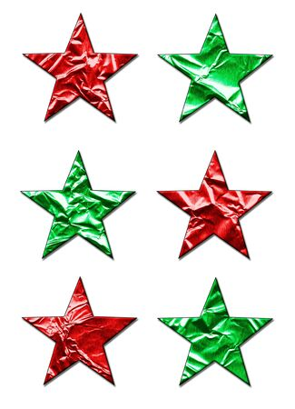 3 d illustrations: Six large red and green 3D stars