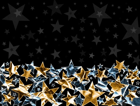 shiny metal background: Metallic gold and silver stars on a black background with subtle gray stars. Stock Photo