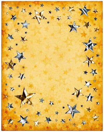 Silver and gold stars on old vintage paper. Standard-Bild