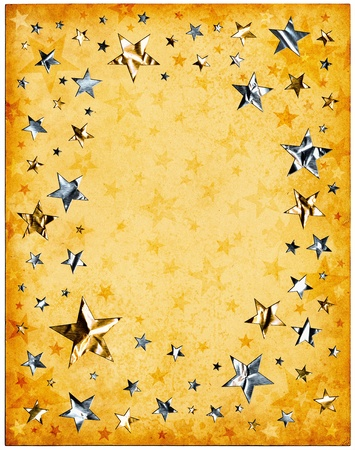 five star: Silver and gold stars on old vintage paper. Stock Photo