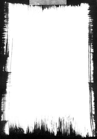 黒筆は、白い背景の周囲にグラフィック フレームを形成します。 写真素材