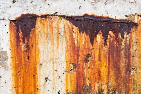 corrosion: Grungy corrosion and rust stains along a concrete harbor breakwater. Stock Photo