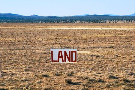 nobody real: A large parcel of Arizona desert for sale. Stock Photo