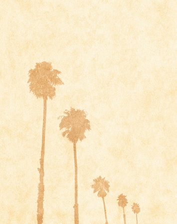 faded: Palm tree silhouettes on a paper background.