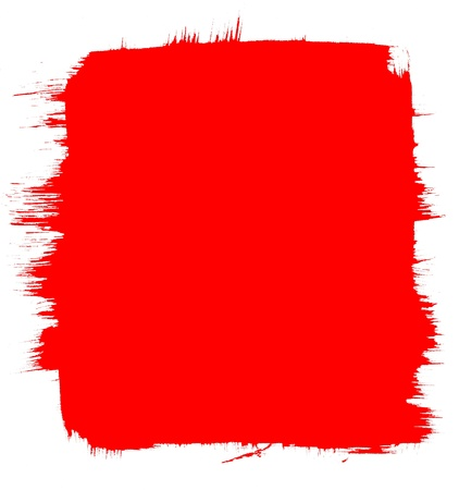 A red background with a brush-stroke border.