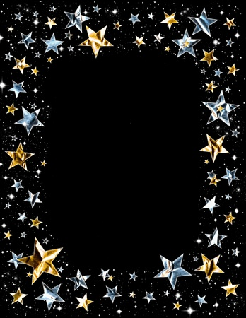 gold frame: Silver and gold stars with clipping path on a black space background.   Stock Photo