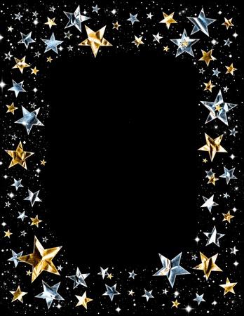 Zilver en gouden sterren met clipping path op een zwarte ruimte achtergrond.