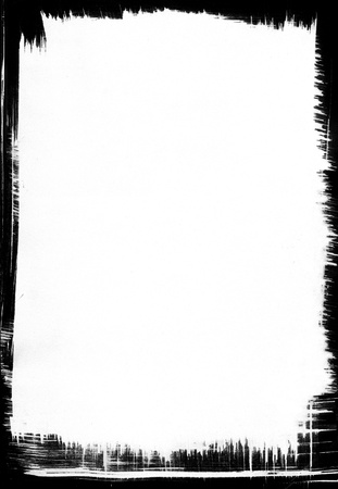 ink stain: A paper background with a black brushstroke frame. Stock Photo