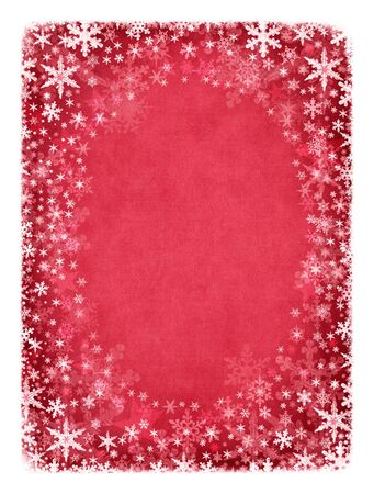 A  portrait frame of snowflakes on a textured red cloth background.