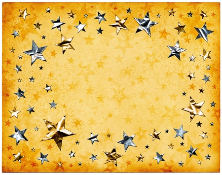 metallic background: Silver and gold stars on old vintage paper. Stock Photo