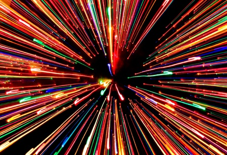 zooming: A zooming and streaking Christmas light effect.
