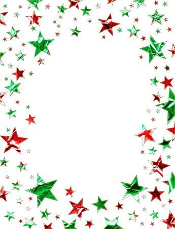 shiny metal background: A star field of green and red stars on a white background