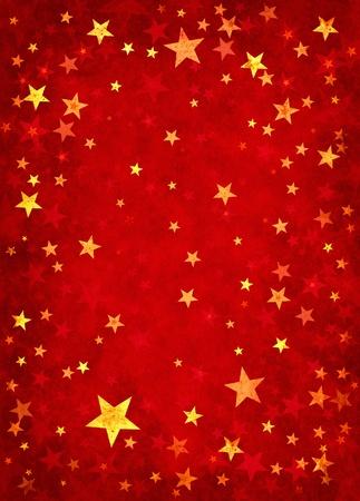 Star vormen op een gestructureerde rood papier achtergrond.