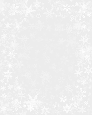 Subtly rendered snowflakes on a light gray background.
