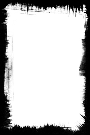 tattered: Brushstrokes form a graphic, black frame around a white background. Stock Photo