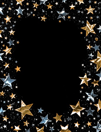 Gold and silver stars on a black background photo