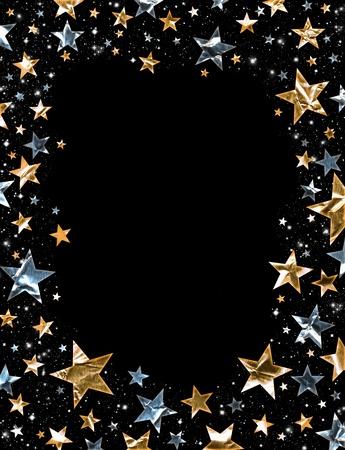 Goud en zilveren sterren op een zwarte achtergrond