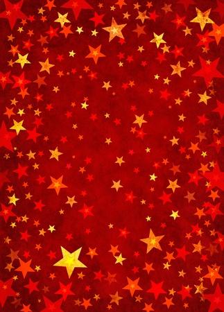 Formas de estrellas sobre un fondo con textura de papel rojo. Foto de archivo - 10422602