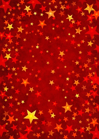golden texture: Star shapes on a textured red paper background. Stock Photo