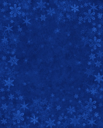 subtly: Subtly rendered snowflakes on a textured blue paper background.