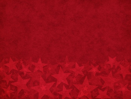 Subtle star shapes on a textured red paper background.