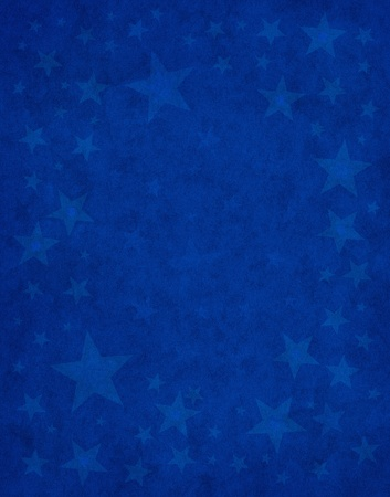 star shape: Subtle star shapes on a textured blue paper background. Stock Photo