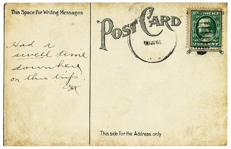 postcard back: The back of an old postcard from the early 20th century.