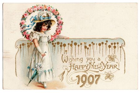 antique: An old postcard celebrating the new Year of 1907.