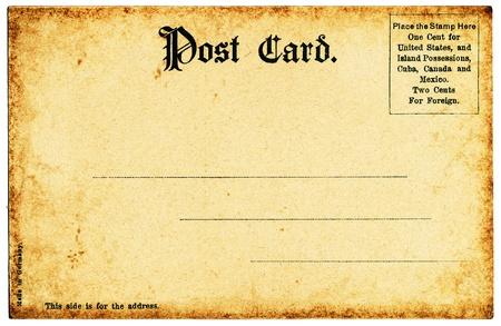 L'arrière d'une vieille carte postale du début des années 1900.
