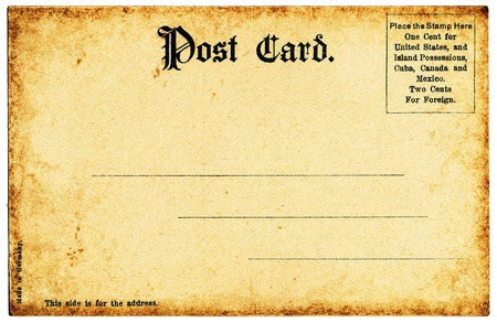 post cards: The backside of an old postcard from the early 1900s.