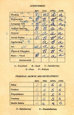 report card: An old, stained American grade school report card from 1964 to 1965 (third grade). Stock Photo