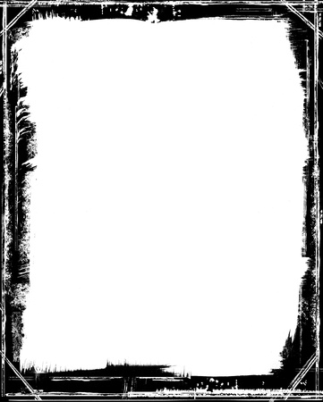 brushstroke: A grungy black frame with brush strokes and corner angles. Stock Photo