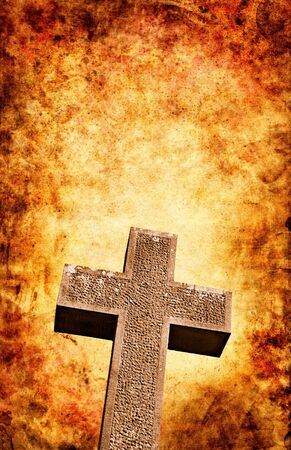 heaven and hell: An old stone cross with a dramatic textured background.