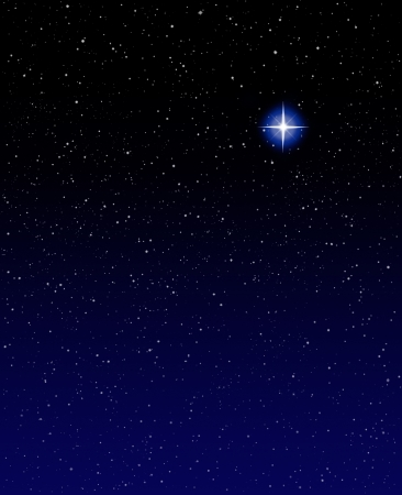 star: A shining star against a star field background with blue tones.